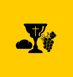 Christian symbols communion bowl with wine vector