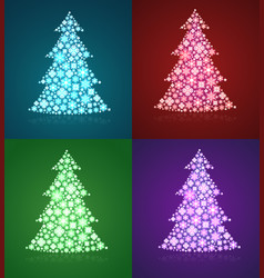 christmas trees a set of twinkling holiday vector image