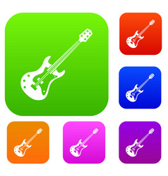 classical electric guitar set color collection vector image
