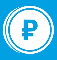 Coin ruble icon white vector
