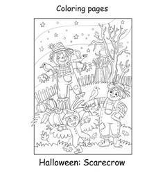 coloring halloween children in costumes vector image