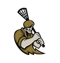 commando lacrosse mascot vector image