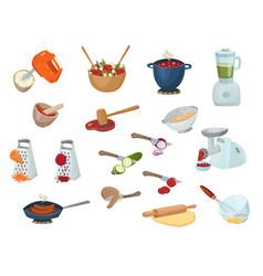 Cooking process set vector