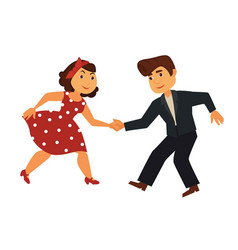 Couple of rock-n-roll dancers in stylish vintage vector