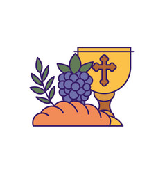 Cup bread and grapes fill design vector