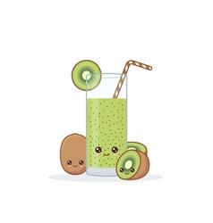 cute kawai smiling cartoon kiwi juice vector image