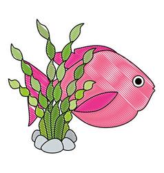 Cute ornamental fish with seaweed vector