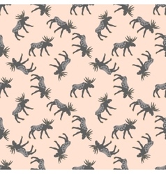 Deer seamless pattern with retro dots vector