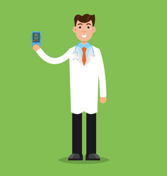 Doctor hold pulse oximeter in hand measuring vector