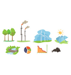 electricity and energy sources set wind hydro vector image