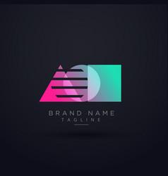 elegant geometric shape logo concept design vector image
