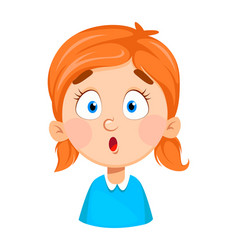 Face expression cute little girl surprised vector