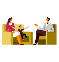 family therapy consultation at psychologist vector image