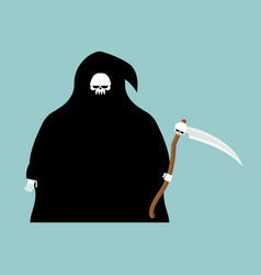 Fat grim reaper with scythe isolated death in vector