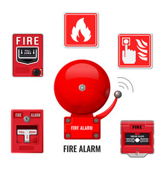 Fire alarm system icons set red ringing bell vector
