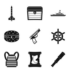 Fire unit icons set simple style vector