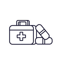 First aid kit with medicines vector