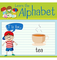 Flashcard letter T is for tea vector image