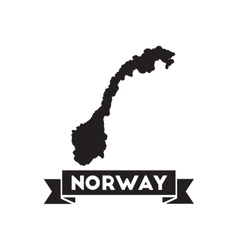 Flat icon in black and white norway map vector