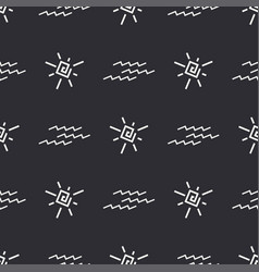 Flat monochrome seamless summer sun pattern vector