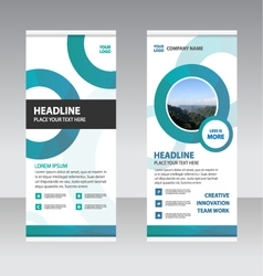 Green circle business roll up banner flat design vector