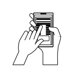 hand user with smartphone device isolated icon vector image