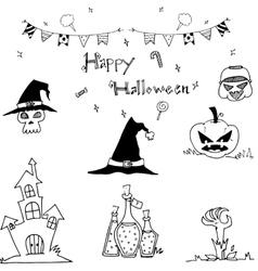 Happy halloween doodle element vector