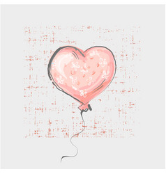Heart balloon on grunge background cute childish vector
