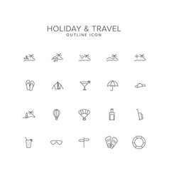 holiday and travel line icon set vector image