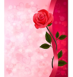 Holiday background with red rose and ribbon vector