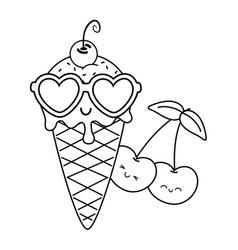 Ice cream cherries and sunglasses black and white vector