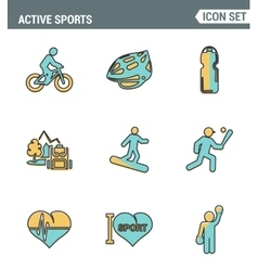 Icons line set premium quality of active sports vector image