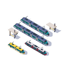 isometric 3d set passenger tram with station vector image