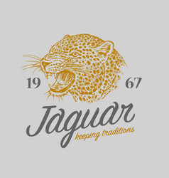 Japanese leopard logo asian cat grunge label vector