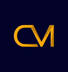 letter cm outline modern logo design vector image