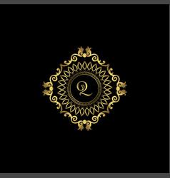 Letter q luxury ornament logo monogram crest vector