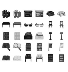 Library and bookstore blackmonochrome icons in vector