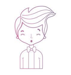 line nice boy with elegant suit and hairstyle vector image