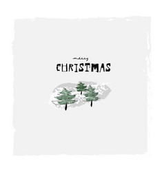Merry christmas cute winter botanical greeting vector