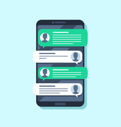 mobile sms notifications hand texting message vector image