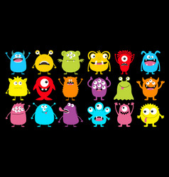 monster colorful silhouette super big icon set vector image
