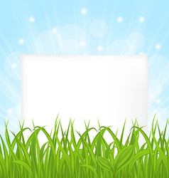 Natural card with green grass and paper sheet vector image