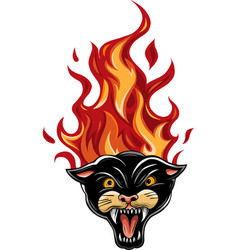 panther burning flame head vector image