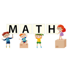 Poster design with kids and math vector