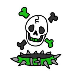 Punk rock skull and collar vector