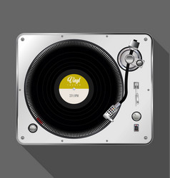 Record player retro design with long shadow vector