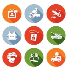 Risk journalism in war icons set vector