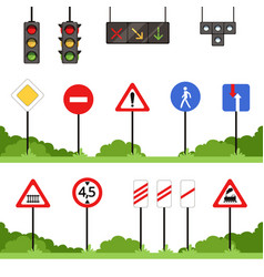 road signs set various traffic sign vector image