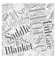 Saddles and Horse Blankets Word Cloud Concept vector