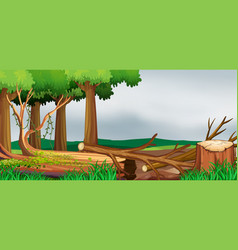 Scene with forest and chopped woods vector